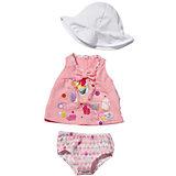 "Летняя одежда для куклы ""Розовое платье- белая панама"", BABY born"