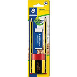 Чернографитный карандаш с ластиком и точилкой Noris HB, 2 шт.
