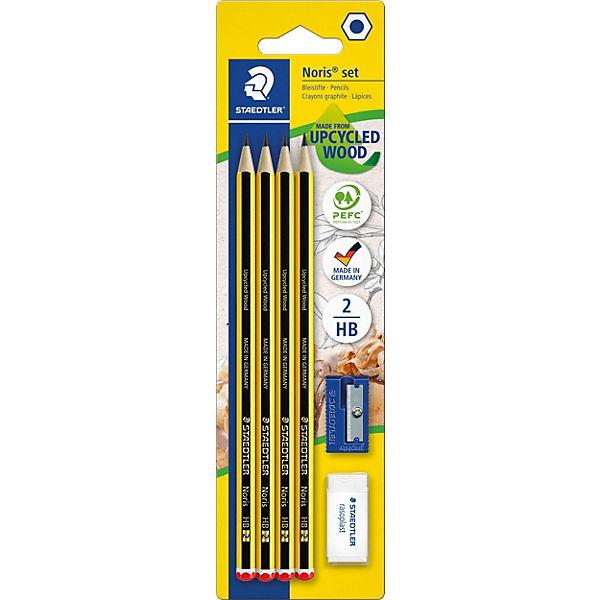 Чернографитный карандаш с ластиком и точилкой Noris HB, 4 шт.