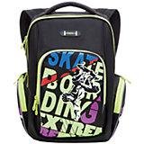 Рюкзак школьный Grizzly, черно-салатовый
