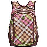 Рюкзак школьный Grizzly, коричнево-салатовый