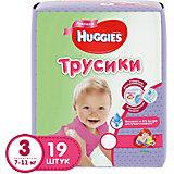 Трусики-подгузники 3 для девочек, 7-11кг, , 19 шт., Huggies