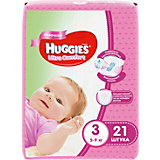 Подгузники Ultra Comfort для девочек 3, 5-9 кг, 21шт., Huggies