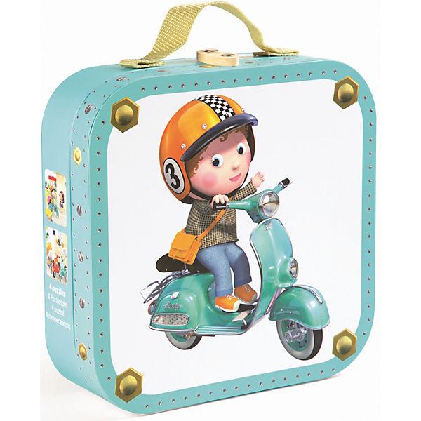 """Набор из 4-х пазлов в квадратном чемоданчике """"На скутере"""", 6*9*12*16 деталей, Janod"""