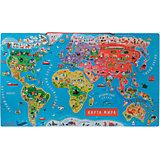 Карта мира с магнитными пазлами, 92 детали, Janod