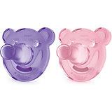 Соска-пустышка с щитком 0-3 мес, 2шт., Philips Avent, розовый/фиолетовый