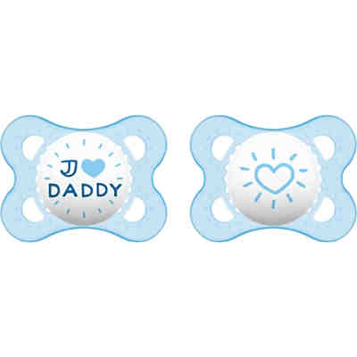 Schnuller Original, Silikon, Gr. 1, I love Daddy, boy, 2er Pack
