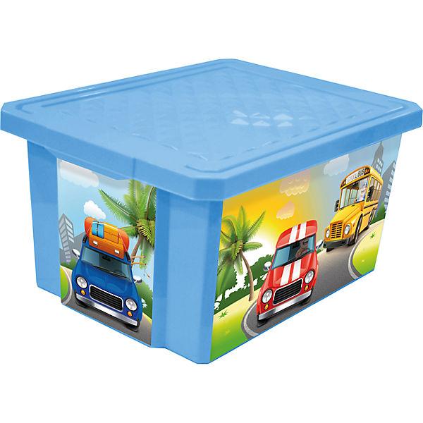 """Ящик для хранения игрушек """"X-BOX"""" City Cars 57л на колесах, Little Angel, голубой небесный"""