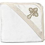 Крестильное полотенце с уголком 90*90, NewBorn, белый/золото