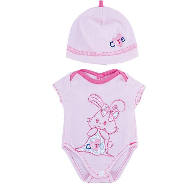 """Одежда для кукол """"Розовое боди в наборе с шапочкой"""""""