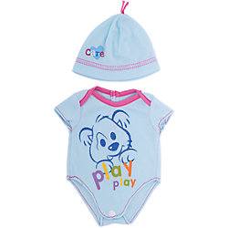 """Одежда для кукол """"Голубое боди в наборе с шапочкой"""