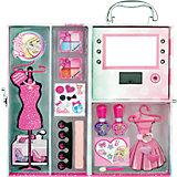 Игровой набор детской декоративной косметики в чемодане с подсветкой, Barbie