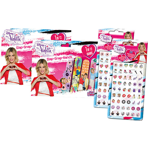 4in1 Set Mini Slap-Snap-Bands + Sticker-Earrings - Violetta
