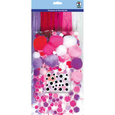 Pompons & Chenille-Set, lila/pink