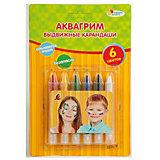 Аквагрим карандаши выдвижные, 6 цветов