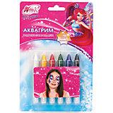 Аквагрим карандаши выдвижные, 6 цветов, Winx Club