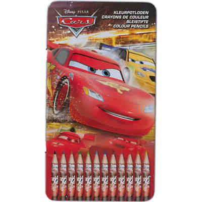 Bunstifte Disney Cars in Metalldose, 12 Farben
