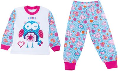 Пижама для девочки Апрель - белый/голубой