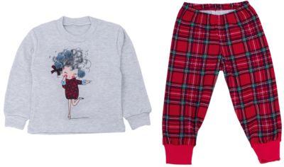 Пижама для девочки Апрель - красный/серый