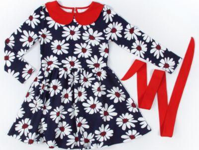 Платье для девочки Апрель - синий/красный