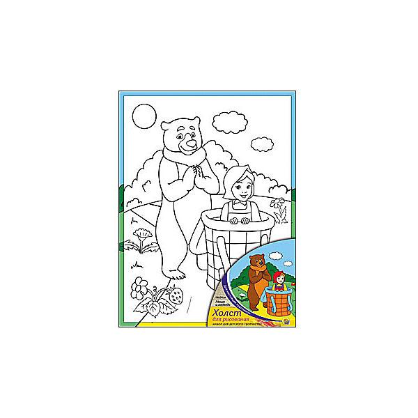 """Холст с красками """"Маша и Медведь"""", 18х24 см"""