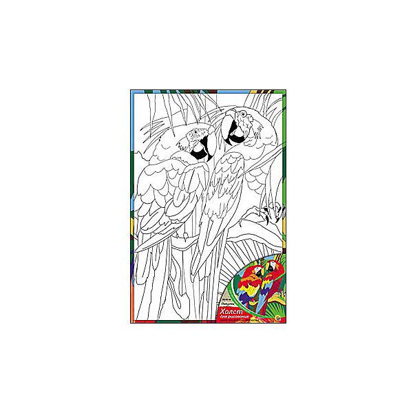 "Холст с красками ""Попугаи"", 20х30 см"