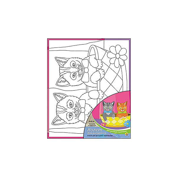 """Холст с красками """"Котята в корзине"""", 25х30 см"""