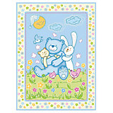 Одеяло байковое Мишка на лужайке, 100х118 2-сторон., Baby Nice, голубой