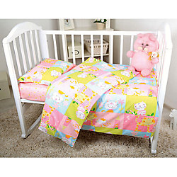 Постельное белье Мишки 3 пред., бязь 60х120, Baby Nice, розовый