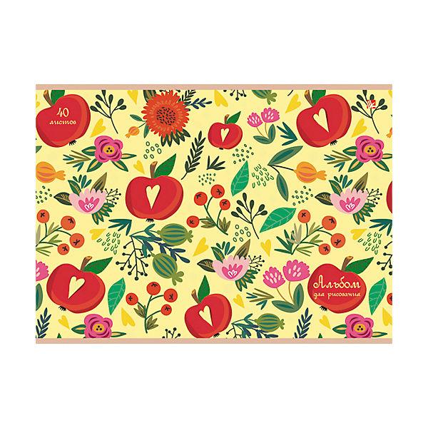 """Альбом для рисования """"Цветы и яблоки"""", 40л"""