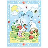 Одеяло байковое Земляничная поляна, 85х115, Baby Nice, голубой