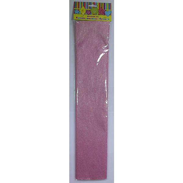 Бумага розовая перламутровая крепированная