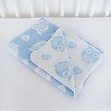 Одеяло байковое Совы 85х115, Baby Nice, голубой
