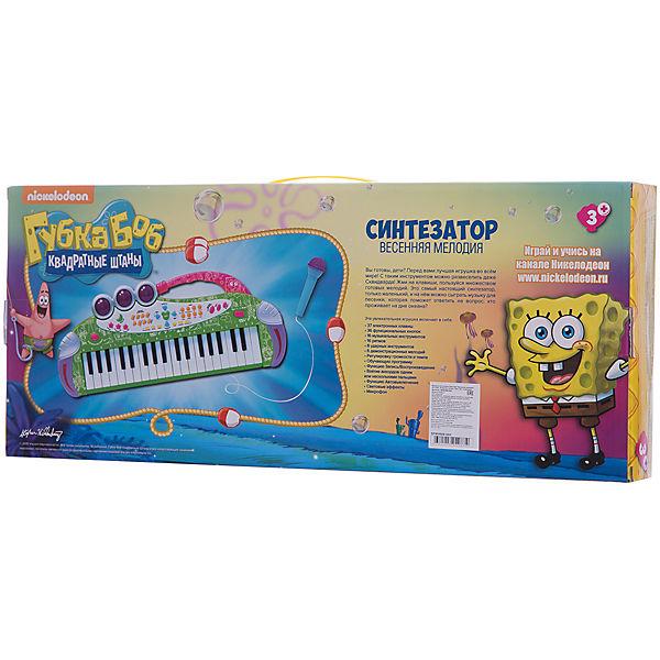 """Игрушка-синтезатор """"Весенняя мелодия"""" , с микрофоном, со светом, Губка Боб"""