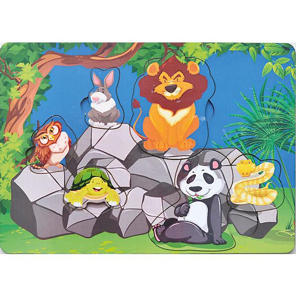Развивающая рамка-вкладыш  «Звери на камнях», Мастер игрушек