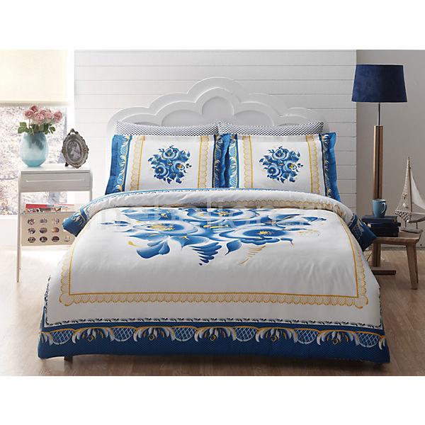 Постельное белье 2-х сп. TAC, Ocharovanie Delux, голубой
