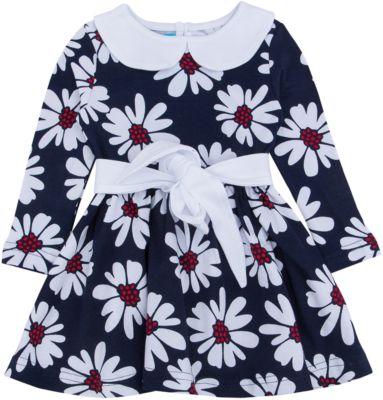 Платье для девочки Апрель - синий/белый