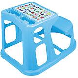 Стол парта для детей с декором 730*550*500, Пластишка, голубой