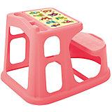 Стол парта для детей с декором 730*550*500, Пластишка, коралловый