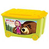 Ящик для игрушек на колесах 580*390*335 Маша и Медведь, Пластишка, зелёный