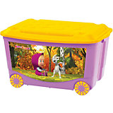 Ящик для игрушек на колесах 580*390*335 Маша и Медведь, Пластишка, коралловый