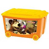 Ящик для игрушек на колесах 580*390*335 Маша и Медведь, Пластишка, оранжевый