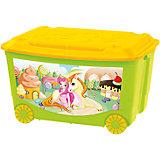 Ящик для игрушек на колесах 580х390х335 мм, Пластишка, зеленый