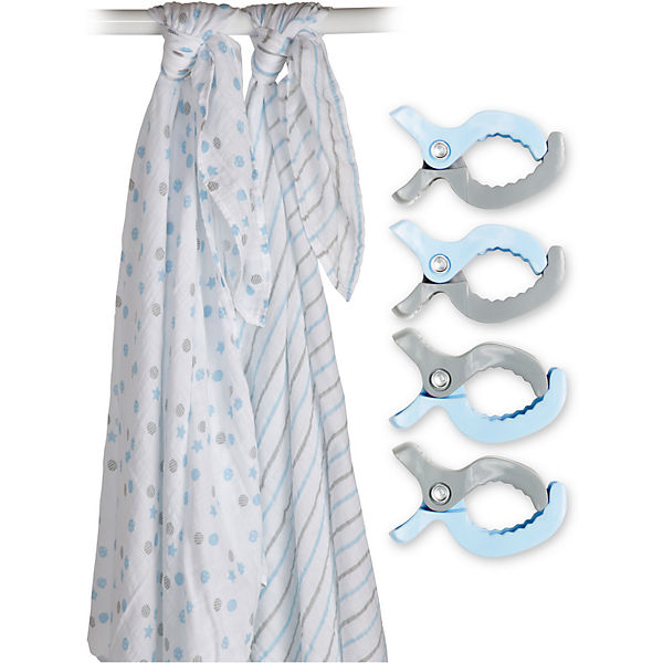 Муслиновая пелёнка 2 шт. с клипсами 4 шт., 120х120, Lulujo, синий