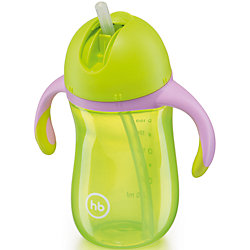 """Поильник с трубочкой и ручками """"STAR FEEDING CUP"""", Happy Baby, зеленый"""
