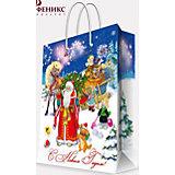 """Подарочный пакет """"Дед Мороз  Ёлкой"""" 26*32,4*12,7 см"""