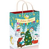 """Подарочный пакет """"Снеговики с елочкой"""" 26*32,4*12,7 см"""