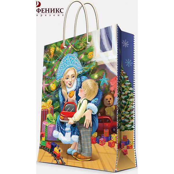 """Подарочный пакет """"Снегурочка с малышом"""" 26*32,4*12,7 см"""