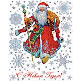 """Оконное украшение """"Дед Мороз в красном кафтане"""" 30*38 см"""