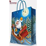 """Подарочный пакет """"Дед Мороз в санях"""" 17,8*22,9*9,8 см"""